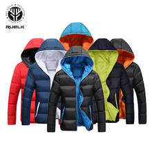 RUELK New Winter Men Jacket Warm Casual Cotton Blend Male Parka Hooded Solid Col