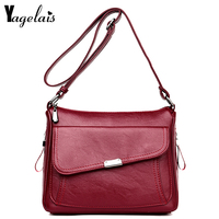 Ladies' PU Leather Handbag Bags For Women 2018 famous brands Solid Color Bag casual Tote Shoulder Bags Female Free Shipping