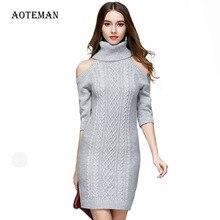 ฤดูใบไม้ร่วงฤดูหนาวเสื้อกันหนาวผู้หญิงสบายๆปิดไหล่เสื้อกันหนาวเสื้อกันหนาวหนาจัมเปอร์เสื้อกันหนาวถัก AOTEMAN