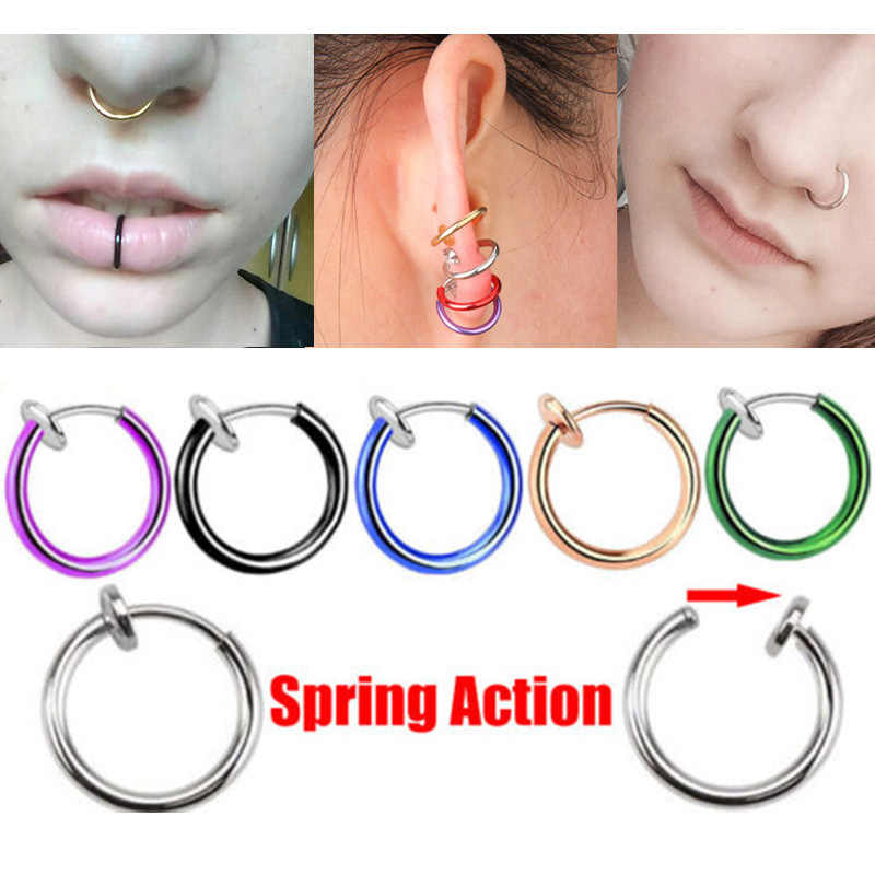 1 piece Stealth Clip On Earrings For Women Men Fake Spring Clip On Nose Clips Ring Hoop Lip Ring Helix Ring Hoop Ear Ring Hoop