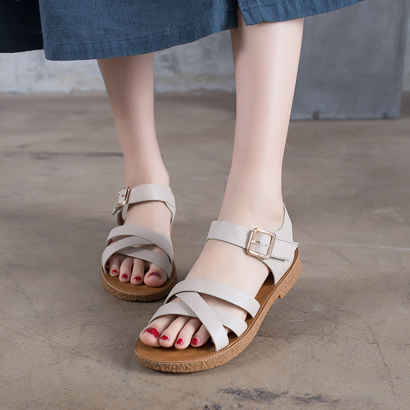 Genuine Leather Flat Bottom Sandals Head Cowhide Soft Sole Shoes ShoeGenuine Leather Flat Bottom Sandals Head Cowhide Soft Sole Shoes Shoe