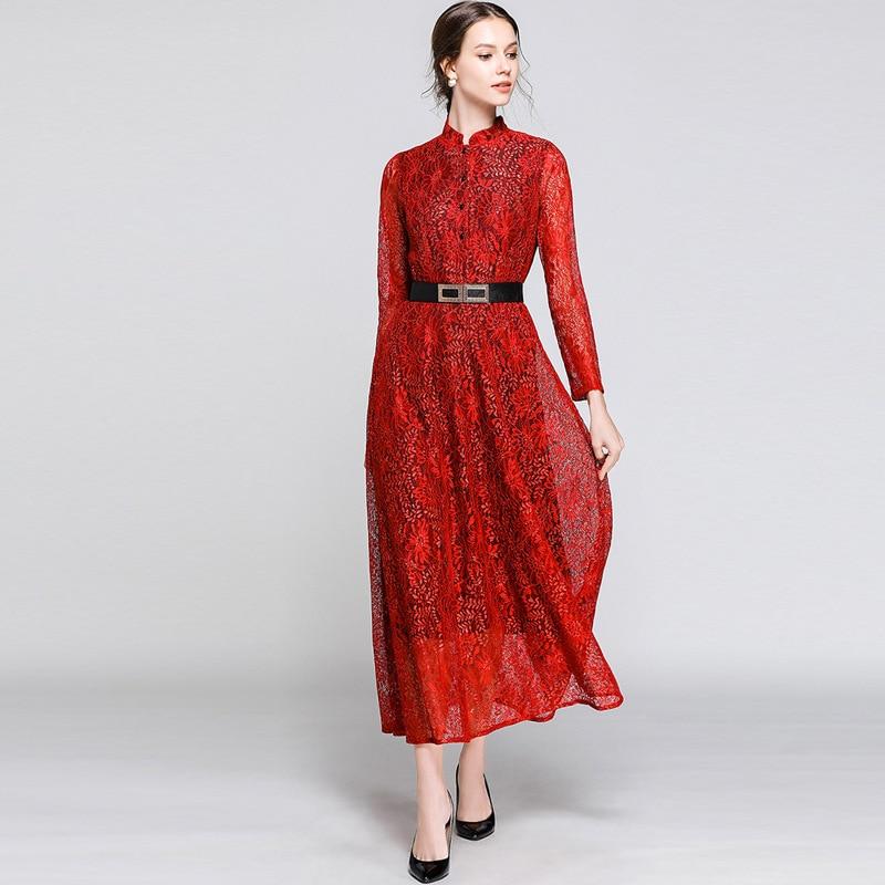 New 2019 Spring Lace Dress Women Plus Size European Hollow -2728