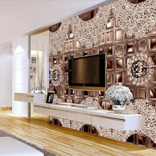 Brown Diamond European 3D Three-dimensional Jewelry Background Wall Light Luxury Wind Professional Production Wallpaper Mural
