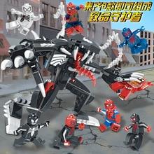 8 In 1 Avengers 4 Super Hero Spiderman Vs Venom Mech Legoingly Figures Building Blocks Bricks Set Model Toys For Children недорого