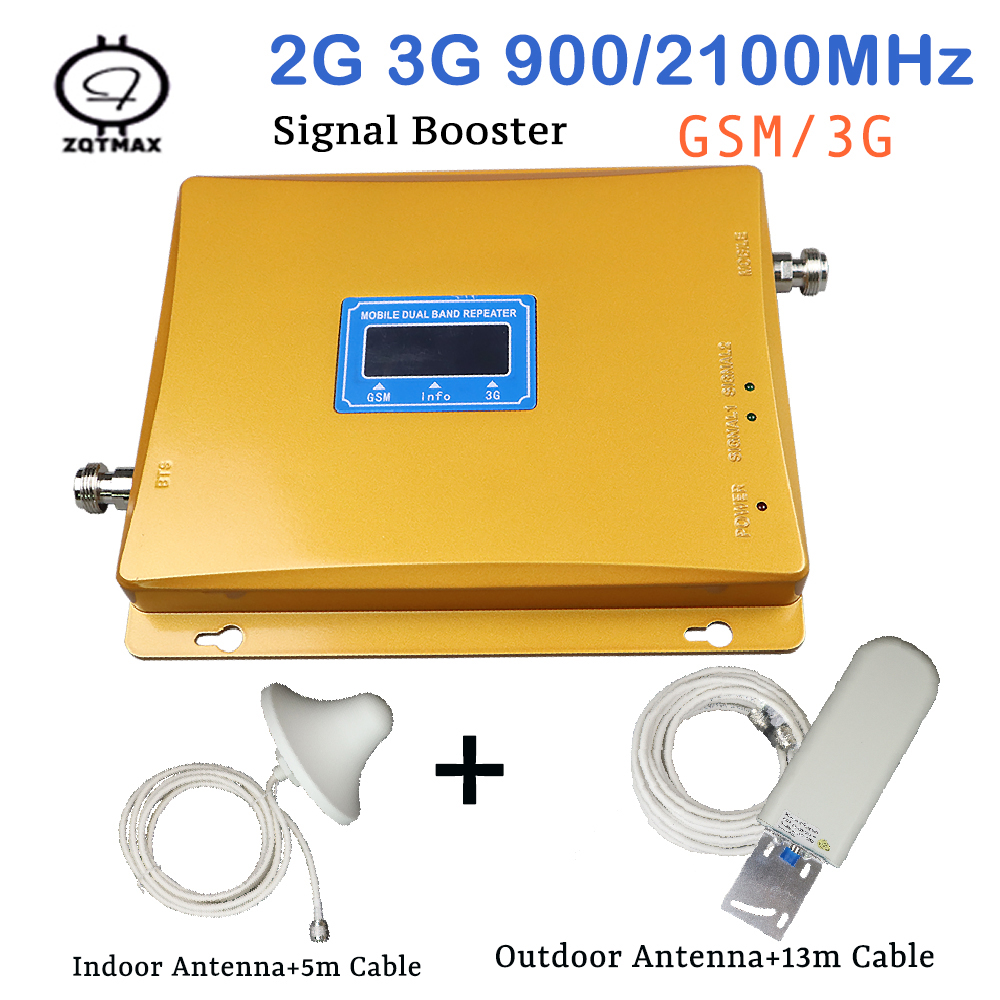 GSM 3G Repeater Dual Band GSM Mobile Signal Booster UMTS Repetidor 3G Antenna Signal Amplifier 2G 3G Repeater Sets 900 2100 Mhz