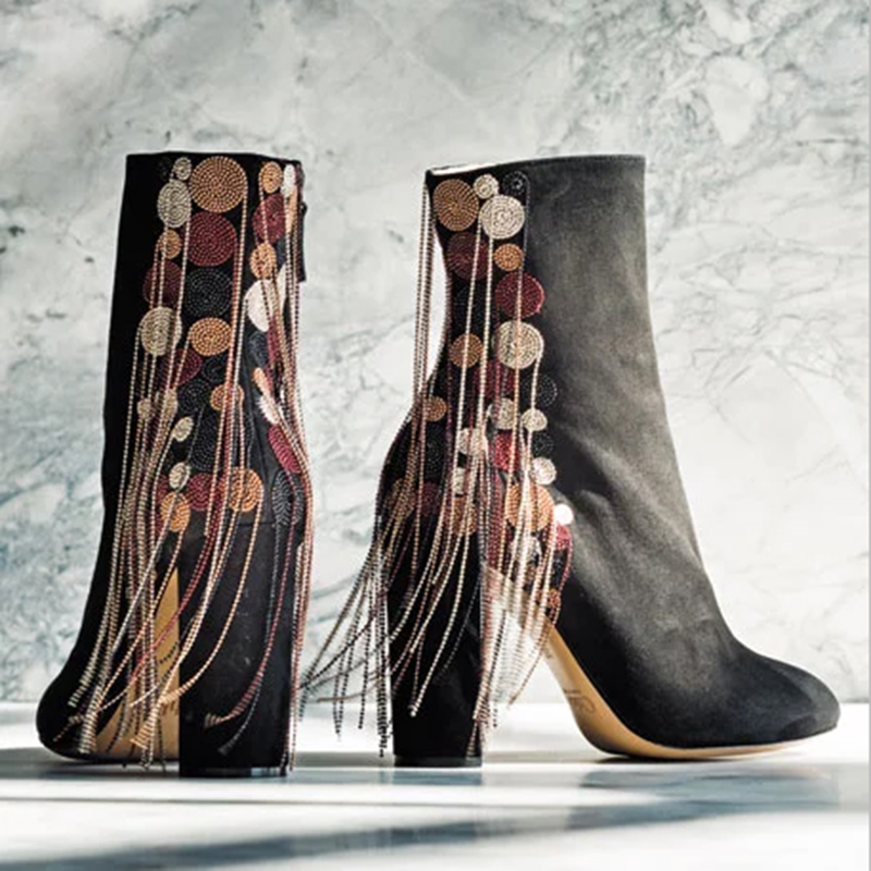 2016 Autumn Women Boots New Brand Winter Chain Tassel Ankle Boots Round Toe Ultra High Heels Genuine Leather Short Boots Botas