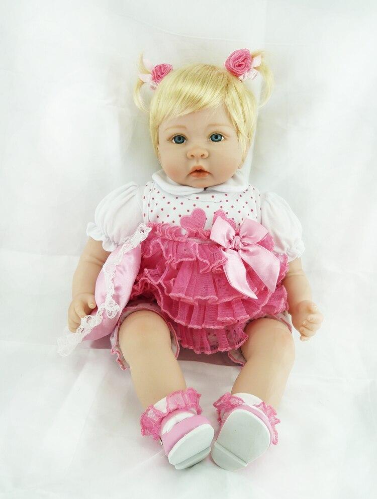 Reborn bébé poupée 22 pouces 55 cm Silicone vinyle fille poupée cheveux blonds doux tissu corps vivant enfant en bas âge bébé noël cadeau pour les enfants - 4