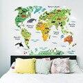 Colorido animal mapa do mundo adesivos de parede sala estar casa decorações pvc decalque mural arte 037 diy escritório crianças quarto arte da parede