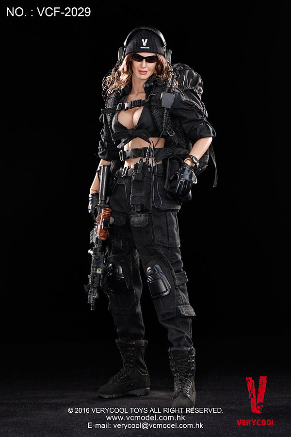 1/6 Scale Black Female Shooter Action Figure Suit Set VeryCool Model Toys For Children Hobby Gifts   Collections