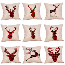 2018 NEW Cute Red Elk Series Pattern Cushion Cover 45CM*45CM Cotton Linen Home Decorative Pillows for Sofa Car