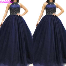 Jewel Neck Prom Party Dresses With Sleeveless Beaded Top Formal Gowns A Line Sexy dress long prom Back Sweep Train Evening Dress xingpulaner a line scoop neck sleeveless tank silver beaded open back long real made evening dress