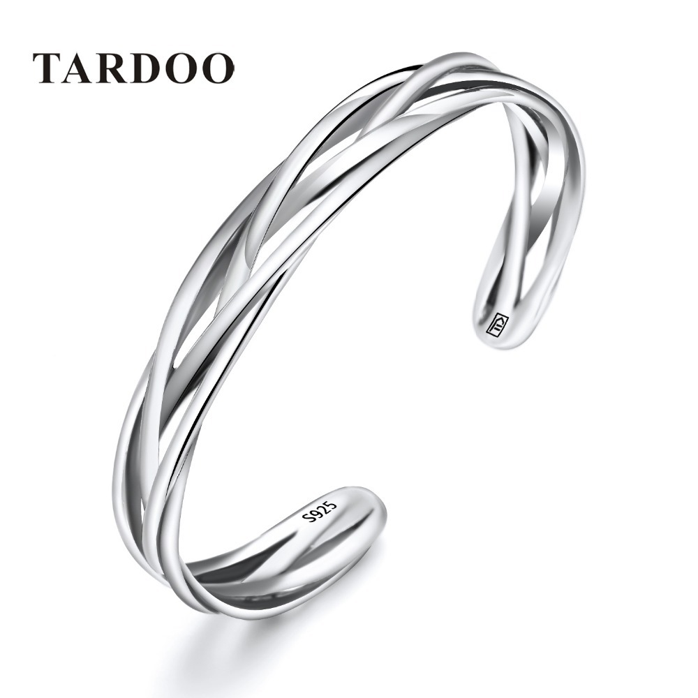 Tardoo 925 Sterling Silver bangles&bracelets for Women Thick Weave Shape Simple&Minimalist Punk rock Style Silver fine Jewelry tardoo punk style classic silver chain necklace for women