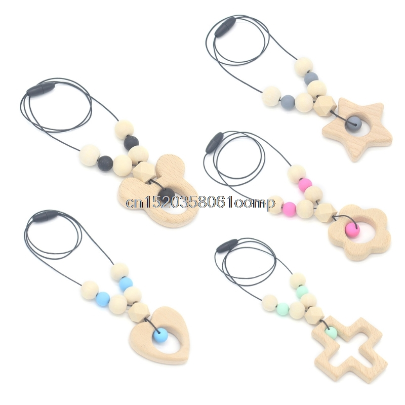 Baby Teether Necklace Silicone Wooden Pendant Beads Star Teething Nursing Toys 0111