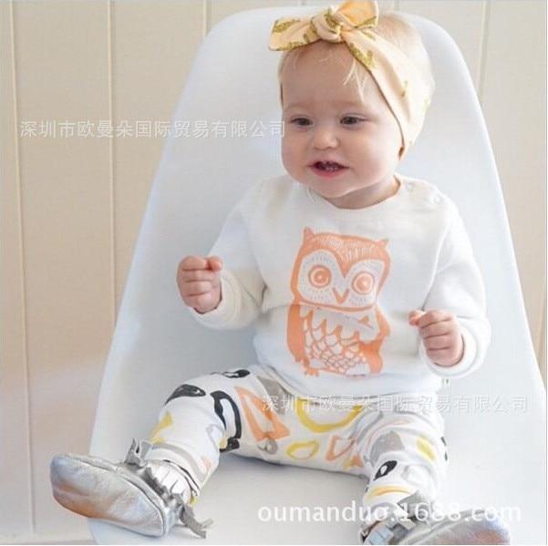 2018 Novelties Baby girl clothes set long sleeve T-shirt + Pants Owl pattern baby clothes set newborn baby costume bebes
