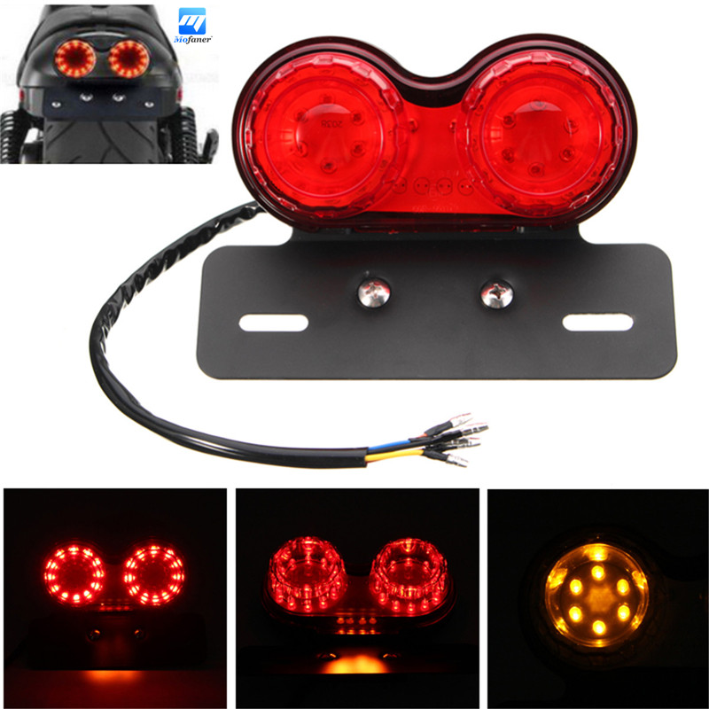 New LED Universal Motorcycle License Plate Brake Tail Turn Dual Signal Light Moto Rear Light For Motorcycle Bobber Cafe