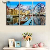 3pcs Norway Mountains Sea Seaside Town Lofoten Islands Beautiful Living Room Home Art Decor Wood Frame
