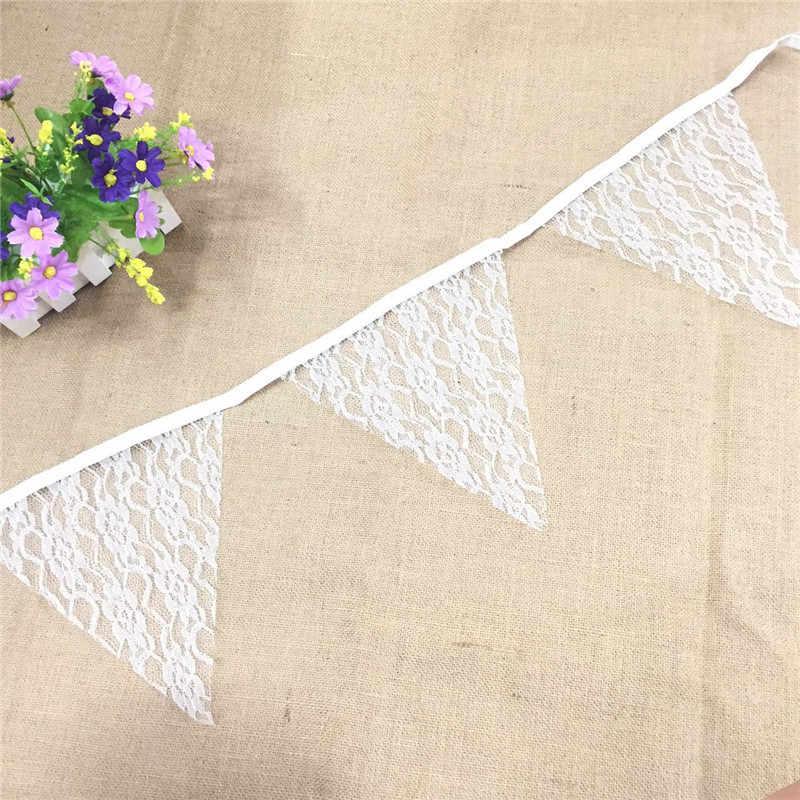 Свадебные украшения, 12 флагов, 4 м, тканевые баннеры, гирлянда, цветочное кружевное плетение, винтажное украшение на день рождения, белое