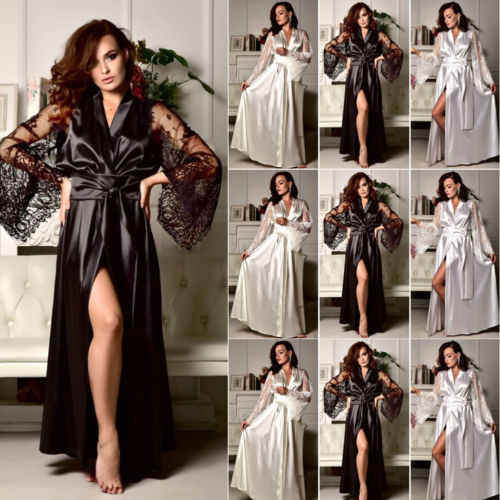 cd17347cef5 Detail Feedback Questions about Sexy Ladies Long Lace Lingerie Sleepwear  Babydoll G string Underwear Women Robe Silk Satin Robes Gown Kimono Robe  Nightdress ...