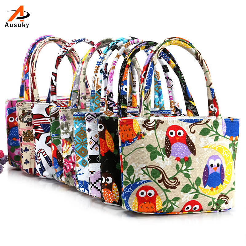 Special National Printed Cartoon Floral Owl Canvas Handbag Preppy School Bag for Girls Women's Handbags Cute Bags 45