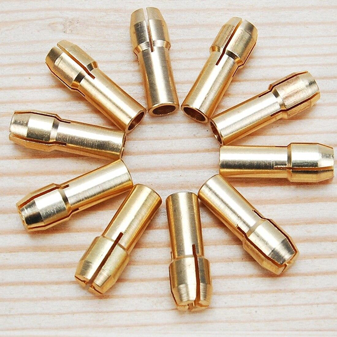 New Arrival 10Pcs /set Brass Drill Chucks Collet Bits 0.5-3.2mm 4.3mm Shank for Dremel Rotary Tool new 10pcs jobbers mini micro hss twist drill bits 0 5 3mm for wood pcb presses drilling dremel rotary tools