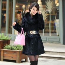 Luxurious one piece skin full sleeve natural Rabbit fur coat with fox fur collar women's fashion real fur jacket black wine