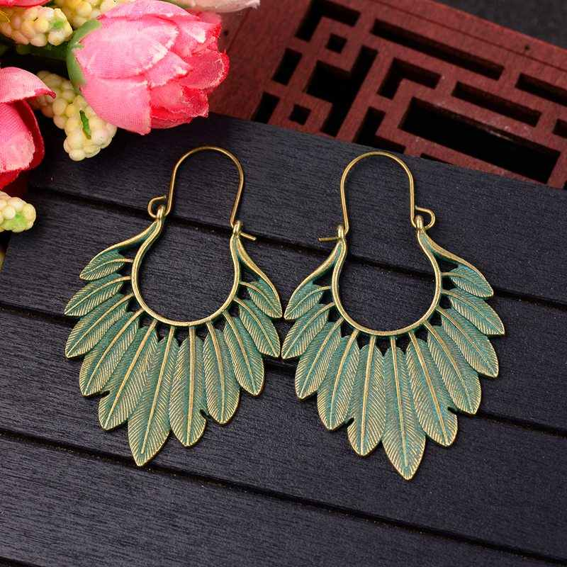 TopHanqi Bohemian Ethnic Bronze Green Leaf Tassel Drop Earrings Women Handmade Statement Gypsy Jewelry Earring Femmes Pendientes