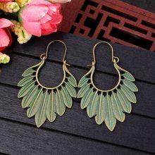 TopHanqi Bohemian Ethnic Bronze Green Leaf Tassel Drop Earrings Women Handmade Statement Gypsy Jewelry Earring Femmes Pendientes