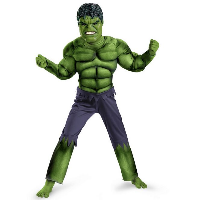 kids Carnival Clothing The Avengers Hulk Muscle cosplay Costume children Halloween party role play Clothes with mask