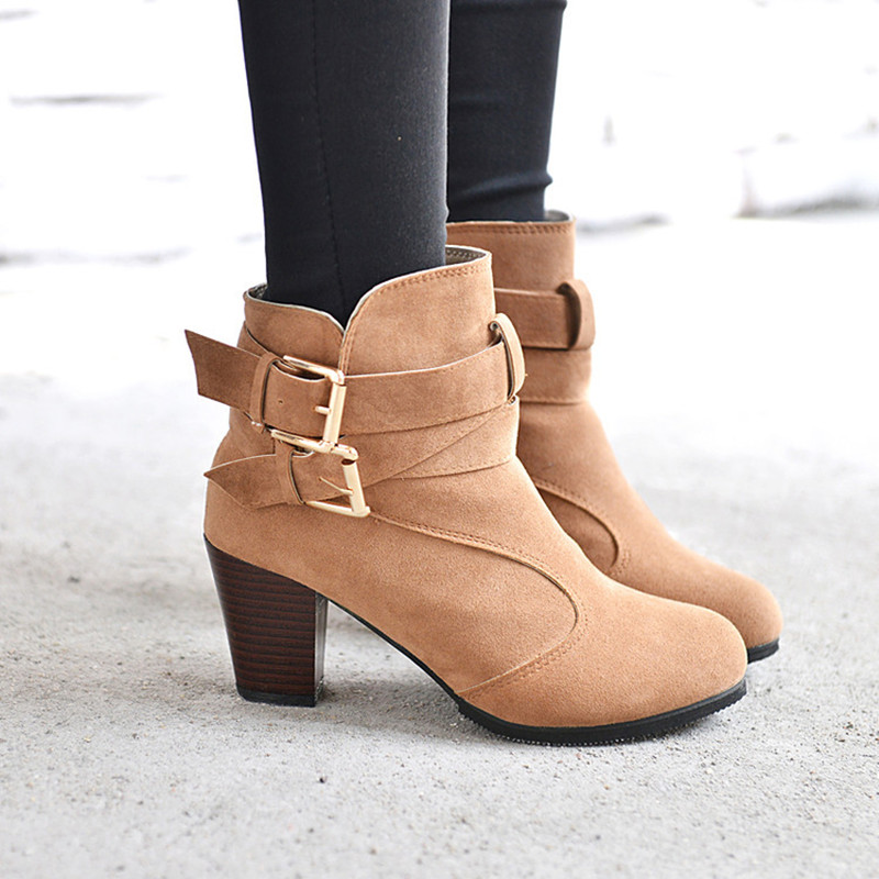 real quality aliexpress hot-selling official Women High Heel Short Ankle Boots Winter Martin Snow Boots ...