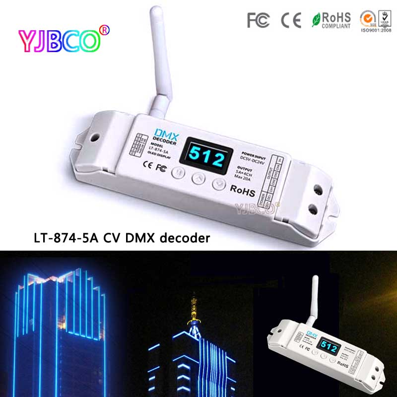 LT-874-5A CV DMX decoder 5A*4CH MAX 20A With LED Screen and DMX512 signal LT-870 DMX Wireless emitter for led light m3 m4 5a m3 touch rf remote with m4 5a cv receiver led dimmer controller dc5v dc24v input 5a 4ch max 20a output