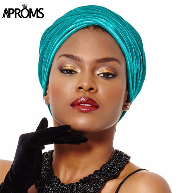 New 2017 Candy Color Women   Headwear   Velvet Headwrap African Head Wrap Tie Scarf Twist Hair Band Turban Bandana Bandage Hijab Hat