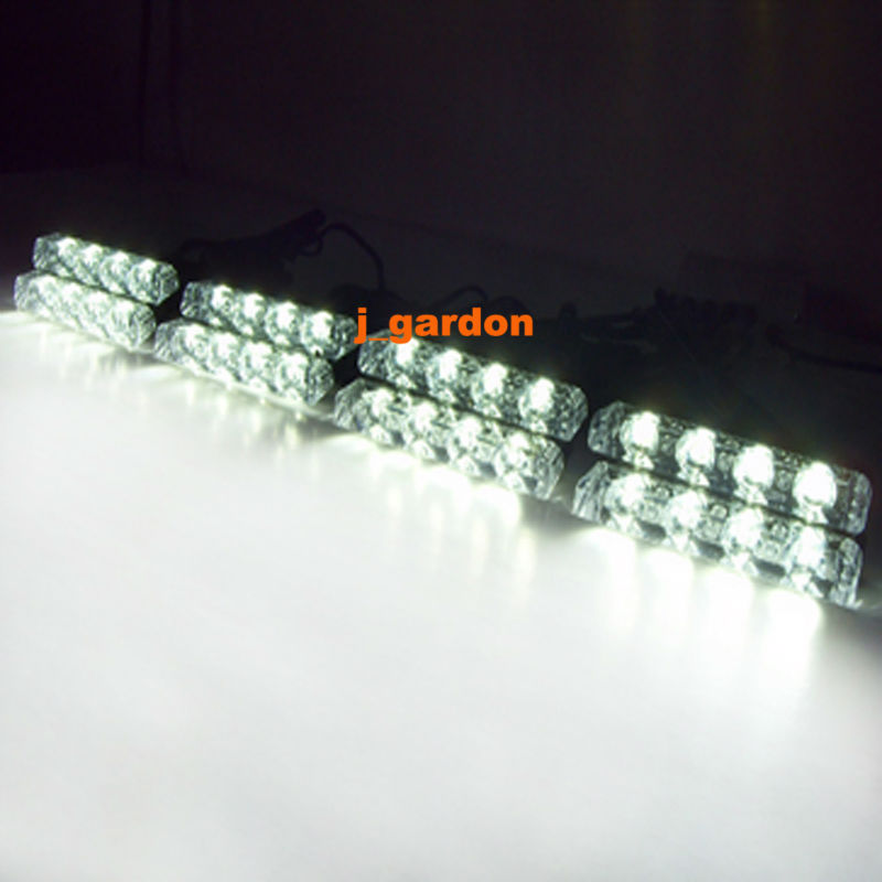 VSLED 8 x 4 LED Emergency Lights Grill Light Car Truck Beacon Light Bar Flashing Strobe Warning White LED LightBar