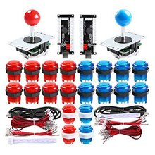 2 Player Led Arcade Diy Parts 2X USB Encoder + 2X Joystick + 20x Led Arcade Buttons For PC, Mame, Raspberry Pi, Windows (Red &(China)