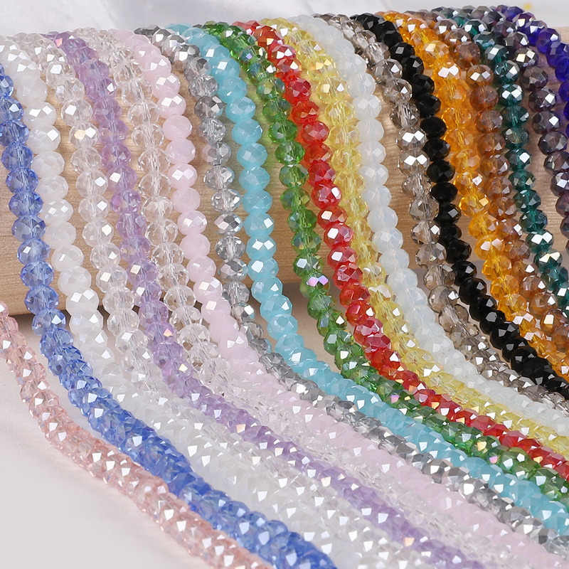 2 3 4 6 8mm about 70-195Pcs Crystal Beads AB multicolor Sapcer Glass Beads for Jewelry Making DIY Handmade Bracelet Wholesale