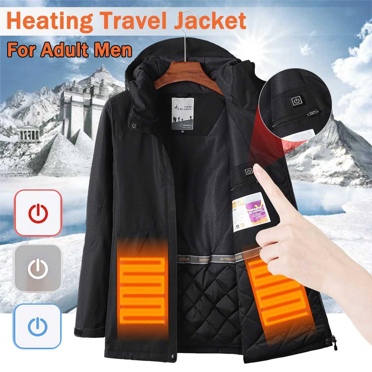 Водостойкие электрические нагревательные Heaed теплые USB с капюшоном дорожные мужские пальто куртки моющиеся зимние походные куртки