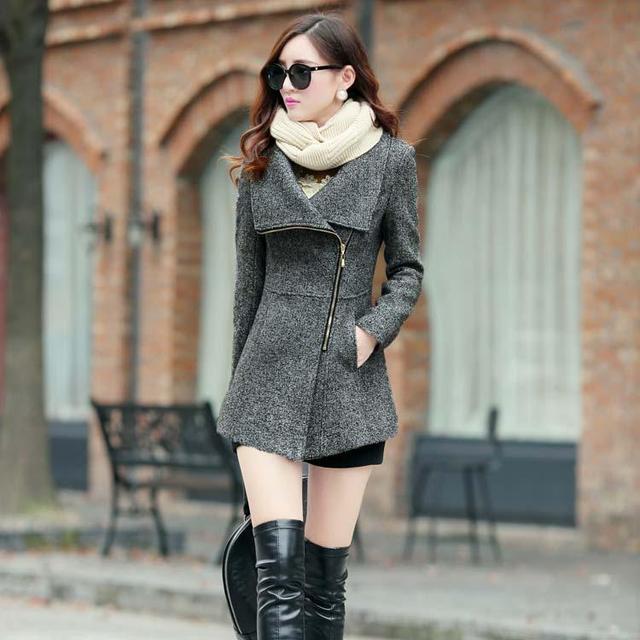 Nova primavera 2016 inverno mulheres jaquetas casacos de lã temperamento feminino casual clothing moda mulheres casacos finos casacos