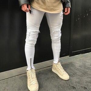 Image 4 - 2020 Nieuwe Mannen Ripped Gaten Jeans Zip Skinny Biker Jeans Zwart Wit Jeans Met Geplooide Patchwork Slim Fit Hip Hop jeans Mannen Broek