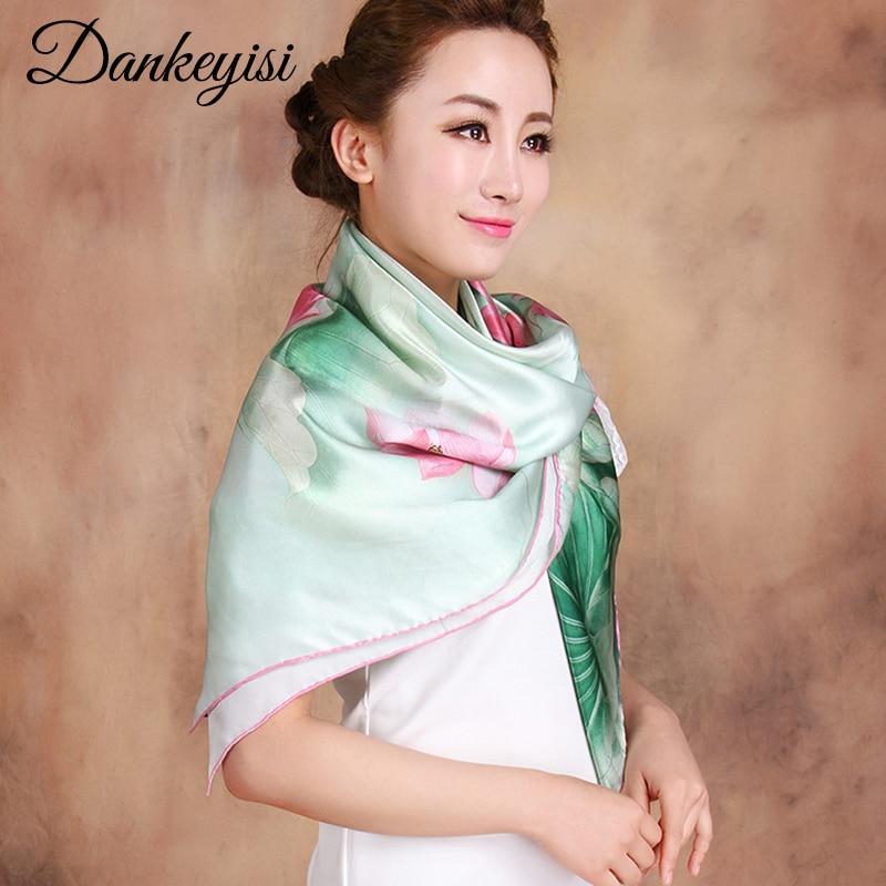 DANKEYISI femmes écharpe Hijab Pure soie bandeau plage couverture-ups grand carré écharpe femelle véritable soie foulards imprimé châles