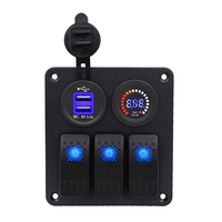 Durable 3 PIN Switch Panel Dual USB Charger 12V Color Screen Voltmeter for Car Boat Motorcycle