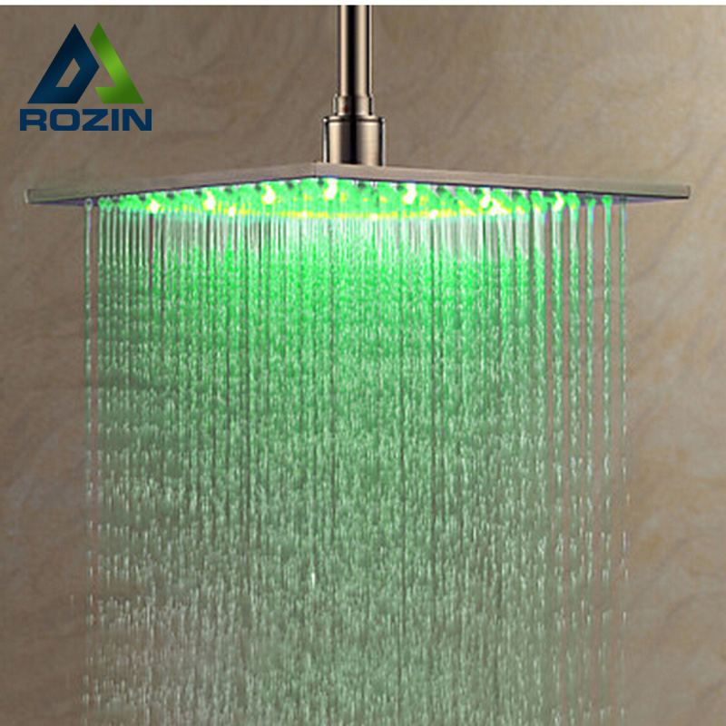 Luxury Brushed Nickel LED Light Color Changing Shower Head 8 Rainfall Shower Head kemaidi led three color changing rainfall