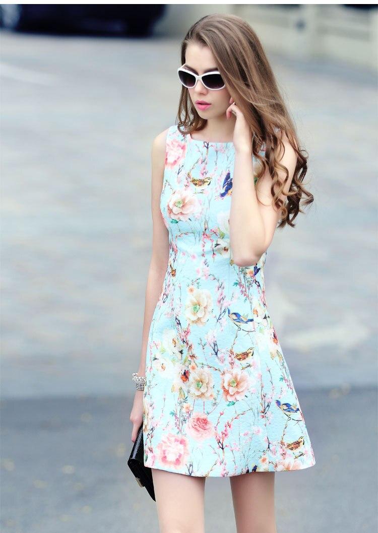 Aliexpress.com : Buy Flower Print Sleeveless Blue A line Shape ...