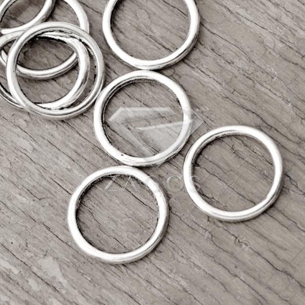 80 шт. антикварные серебряные Тибетский Серебряный тон 14x14x1.5 мм кольцо ссылки цинков ...