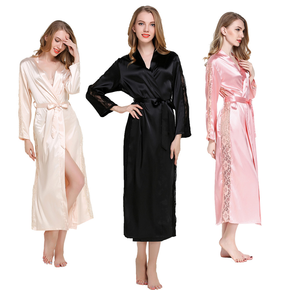 Latest Silk Satin Sleepwear Robes Womens Long Sleeve lace Pajamas Nightwear Femme Lounge Pyjama Black Champagne Bride  Robe