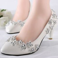 4 5cm Heel Med Heeled Wedding Shoes Ivory For Brides The Luxury Lace Rhinestones Bridal S