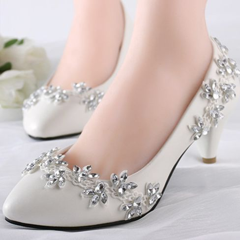 ФОТО 4.5cm heel med heeled wedding shoes ivory for brides the luxury lace rhinestones bridal's wedding pumps shoes XNA 250