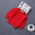 Kids Knitted Sweaters Velvet Boys Girls Sweater 1-6Y Children Bebe Boy Winter Pullover Twisted Sweater Baby Girl Clothes Pink
