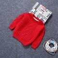 Niños suéteres de punto de terciopelo niños niñas suéter 1-6y niños bebe boy invierno jersey trenzado suéter del bebé ropa de color rosa