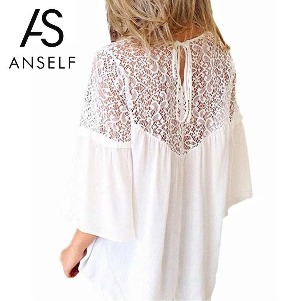 6c5db5282d0f0 2019 Summer 5XL Plus Size Lace Tops Women Blouses Lace Splicing Shirts  Casual Loose Blouse Top
