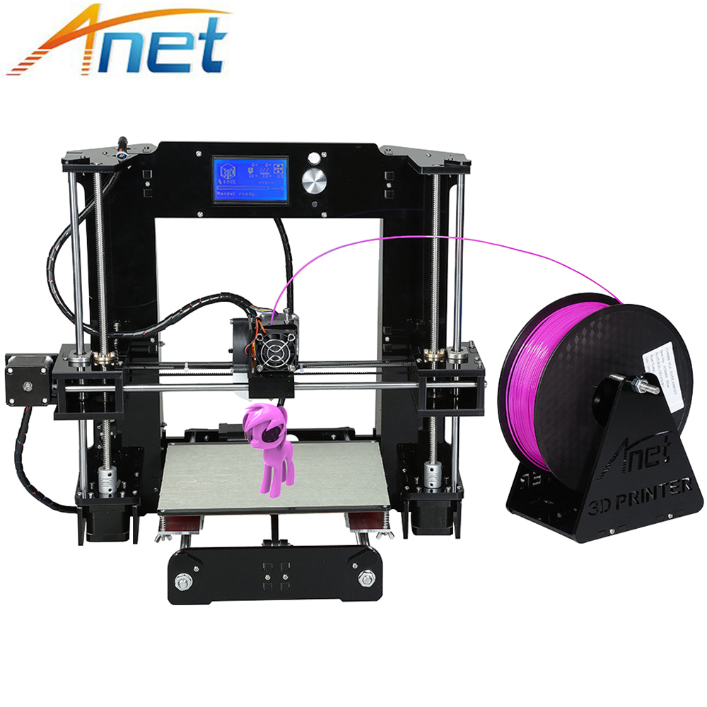 Anet A6 DIY 3D Printer Reprap Prusa i3 Big Size 220*220*250mm High Precision Kit with Filaments+16G SD Card+Tools for Free anet a2 metal lcd2004 220 220 220 220 270 220mm option 3d printer diy prusa i3 3d printer kit with free 10m filaments