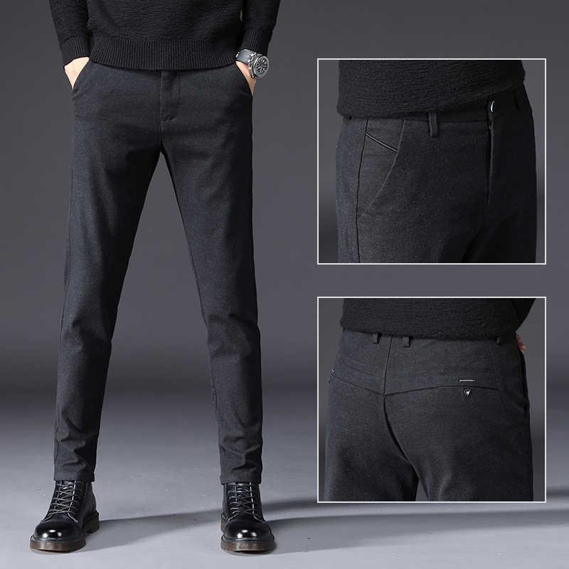 Осень зима высококачественные мужские штаны из хлопка прямые длинные мужские классические деловые плотные повседневные брюки мужские брендовые длинные средней длины